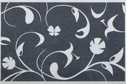 Коврик придверный 50x78см для помещения серые цветы, полиамид Golze CONTZEN MATS JARDIN DE PLANTES 1700-40-001-041