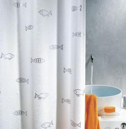 Штора для ванной комнаты 240x200см текстильная, серебристая Spirella KOS 1000318