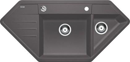 Кухонная мойка крыло слева, с клапаном-автоматом, гранит, тёмная скала Blanco LEXA 9 E 518866