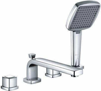 Смеситель вентильный с ручным душем на 4 отверстия на бортик ванны, хром Kludi Q-BEO 504240542