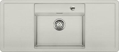 Кухонная мойка с крылом, чаша в центре, с клапаном-автоматом, чёрные аксессуары, гранит, жемчужный Blanco Alaros 6 S 520525