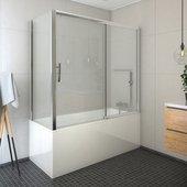 Шторка на ванну Roltechnik Proxima PXV2+PXVB, 170x75см, дверь слева, прозрачное стекло, хром 451-170000L-00-02/452-7500000-00-02
