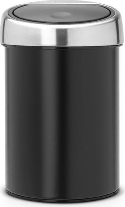 Ведро для мусора Brabantia Touch Bin, 3л, настенное, чёрный матовый 364440