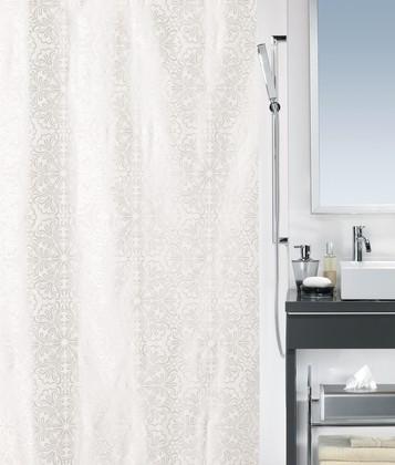 Штора для ванной 180x200см сатин белая Spirella FABIA 1014560