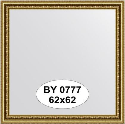 Зеркало 62x62см в багетной раме бусы золотые Evoform BY 0777