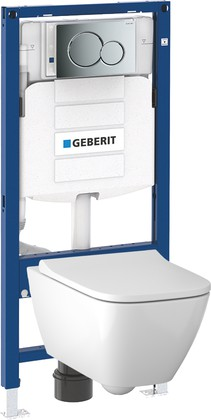 Унитаз с инсталляцией Geberit Smyle Square, крышка-сиденье, кнопка хром 500.300.21.S