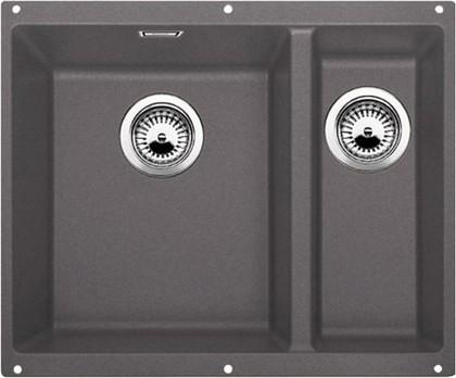 Кухонная мойка без крыла, основная чаша слева, с клапаном-автоматом, гранит, тёмная скала Blanco Subline 340/160-U 518956