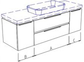 Тумба подвесная, 2 ящика, 2 дверцы, без столешницы и раковины 200х50х50см Verona Ampio AM110.A110.B045.C045