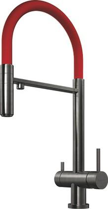 Смеситель для кухни однорычажный с выдвижным изливом и подключением фильтра для очистки воды, воронёная сталь Omoikiri Kanto-PVD-GM 4994013