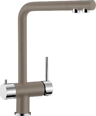 Смеситель кухонный однорычажный с высоким изливом для обычной и питьевой воды, серый беж Blanco FONTAS 518512