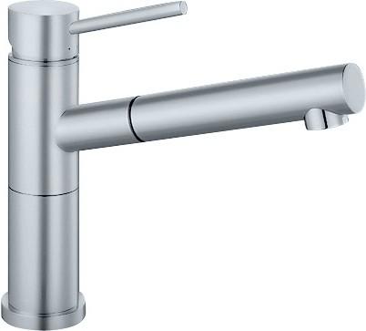 Небольшой кухонный однорычажный смеситель с выдвижным изливом, нержавеющая сталь полированная Blanco ALTA-S Compact 517182