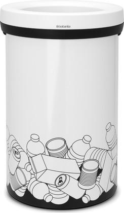 Мусорный бак с открытым верхом 60л белый с рисунком Brabantia Open Top 401985