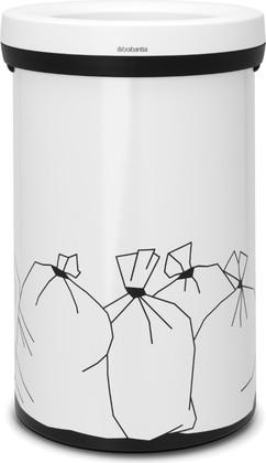 Мусорный бак с открытым верхом 60л белый с рисунком Brabantia Open Top 402005