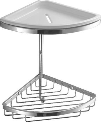 Полка для ванной 18см угловая двойная с керамической вставкой, хром Colombo Angolari B9601.000