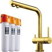 Комплект смеситель для кухни Omoikiri Nagano-LG с краном фильтрованной воды и водоочиститель Pure drop Lite, светлое золото 4178.8028