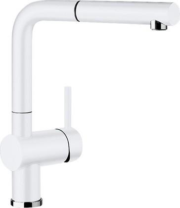 Смеситель кухонный однорычажный с высоким выдвижным изливом, керамика глянцевый белый Blanco LINUS-S 516710