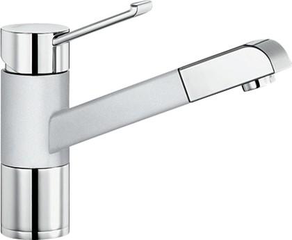 Смеситель кухонный однорычажный с выдвижным изливом, хром / белый Blanco ZENOS-S 517822