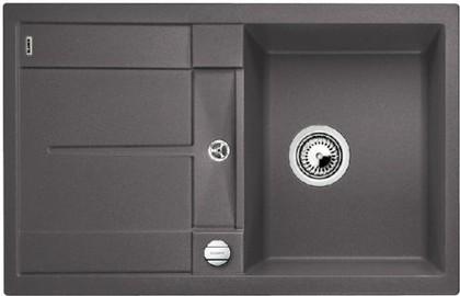 Кухонная мойка оборачиваемая с крылом, с клапаном-автоматом, гранит, тёмная скала Blanco Metra 45 S-F 519086