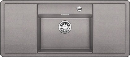 Кухонная мойка с крылом, чаша в центре, с клапаном-автоматом, белые аксессуары, гранит, алюметаллик Blanco Alaros 6 S 516720