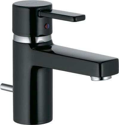 Смеситель для раковины однорычажный с донным клапаном, чёрный / хром Kludi ZENTA 382508675