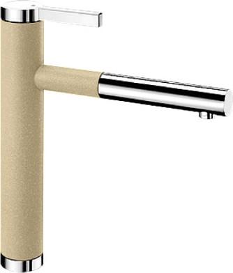 Смеситель кухонный однорычажный с выдвижным изливом, шампань / хром Blanco LINEE-S 518443