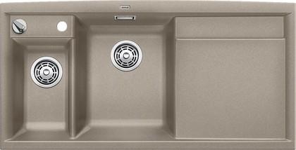 Кухонная мойка чаши слева, крыло справа, с клапаном-автоматом, с коландером, гранит, серый беж Blanco Axia II 6 S 517290
