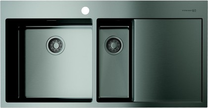 Кухонная мойка Omoikiri Akisame 100-2-GM-L, с крылом, чаша слева, вороненая сталь 4973103