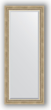 Зеркало 58x143см с фацетом 30мм в багетной раме старое серебро с плетением Evoform BY 1162