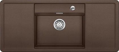 Кухонная мойка с крылом, чаша в центре, с клапаном-автоматом, белые аксессуары, гранит, кофе Blanco ALAROS 6 S 516728