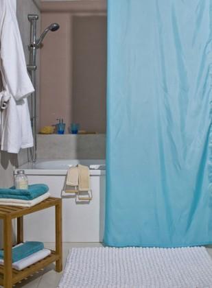 Штора для ванной комнаты 180x200см текстильная голубая Spirella ATLAS 4005708