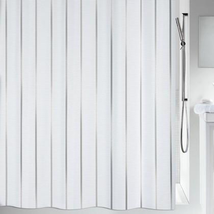 Штора для ванной 180x200см текстильная серебристая Spirella VENTO 1011553