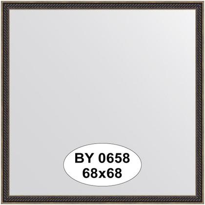 Зеркало 68x68см в багетной раме витой махагон Evoform BY 0658