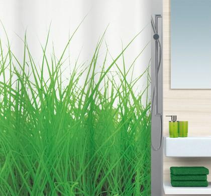 Штора для ванны 180x200см текстильная зелёная Spirella GRASS 1016404