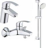 Набор смесителей для ванны Grohe Eurosmart с душевым гарнитуром, хром 124446