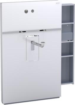 Инсталляция для подвесного умывальника и встроенного смесителя, выдвижной ящик справа, белое стекло Geberit MONOLITH 131.045.SI.1