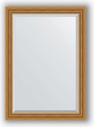 Зеркало с фацетом в багетной раме 73x103см состаренное золото с плетением 70мм Evoform BY 3457