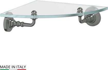 Полка для ванной стеклянная угловая, античное серебро 3SC STI 418