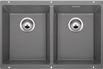 Кухонная мойка без крыла, с клапаном-автоматом, гранит, алюметаллик Blanco Subline 350/350-U 516286