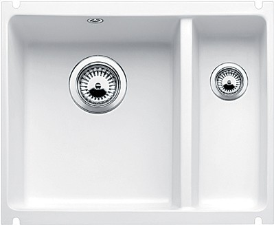 Кухонная мойка без крыла, с клапаном-автоматом, керамика, белый глянцевый Blanco Subline 350/150-U PuraPlus 514529