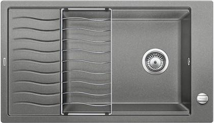 Кухонная мойка оборачиваемая с крылом и решеткой, гранит алюметаллик Blanco Elon XL 8 S 520486
