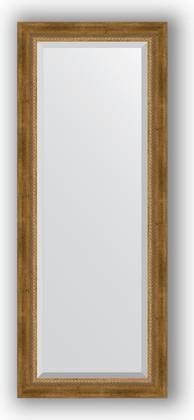 Зеркало с фацетом в багетной раме 53x133см состаренное бронза с плетением 70мм Evoform BY 3510