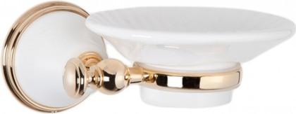 Мыльница настенная керамическая, белый/золото TW Harmony TWHA106bi/oro