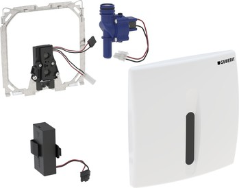 ИК привод смыва для писсуара, 230В, питание от батарей, крышка из пластика хромированная Geberit Basic 115.818.46.5