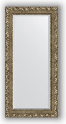 Зеркало с фацетом в багетной раме 55x115см виньетка античная латунь 85мм Evoform BY 3489