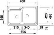 BLANCO CLASSIC 8-IF Схема с размерами вид сверху