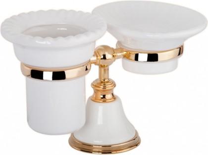 Держатель настольный с мыльницей и стаканом керамика, белый/золото TW Harmony TWHA141bi/oro
