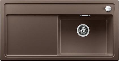 Кухонная мойка чаша справа, крыло слева, с клапаном-автоматом, гранит, кофе Blanco Zenar XL 6 S-F 519314