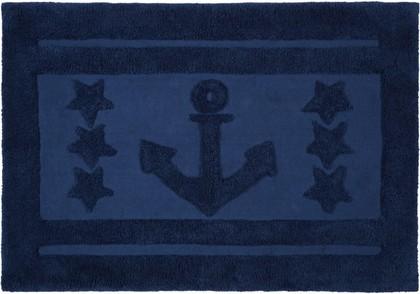 Коврик для ванной комнаты хлопковый 60x90см синий Spirella Anchor Star 1017660