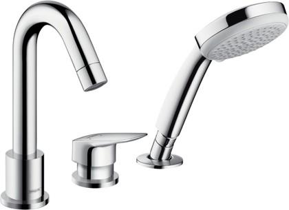 Смеситель однорычажный на 3 отверстия на бортик ванны без встраиваемого механизма, хром Hansgrohe Logis 71313000