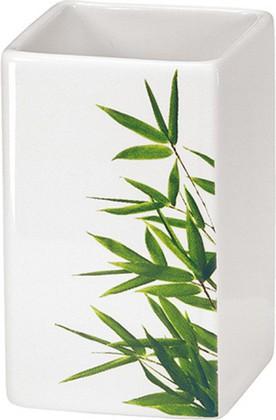Стакан для зубных щёток керамический белый Kleine Wolke Flash Bamboo 5091625852